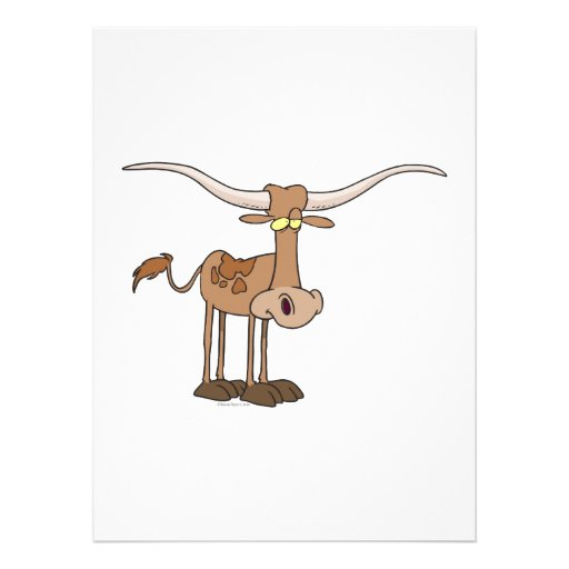 silly longhorn cow cartoon character personalized announcement