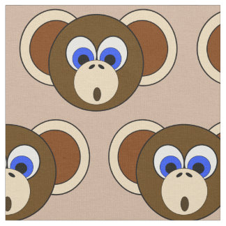 Silly Monkey Face Cartoon Jungle Animal Brown Cute Fabric