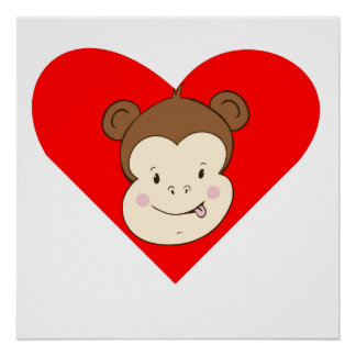 Silly Monkey Face Heart Posters