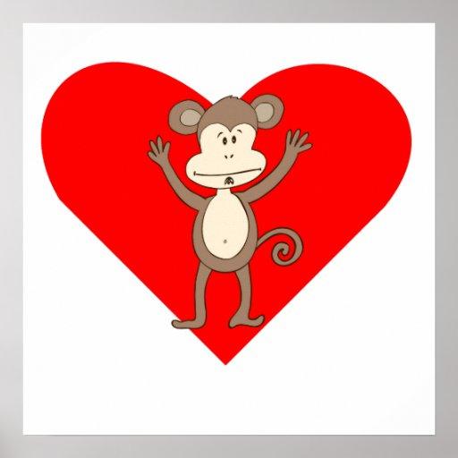 Silly Monkey Heart Print