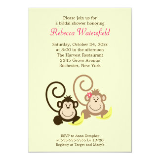 Silly Monkeys 5x7 Bridal Shower Invitation