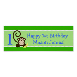 Silly Monkeys Green Personalized Birthday Banner Poster