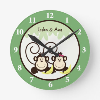 Silly Monkeys Wall Clock - Boy and Girl Monkey
