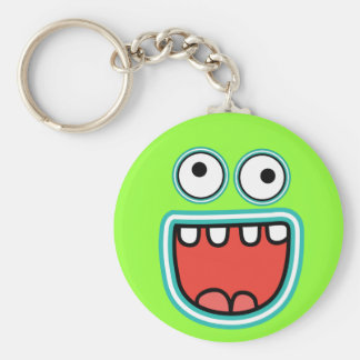 Silly Monster Grin Smiley Face Basic Round Button Keychain