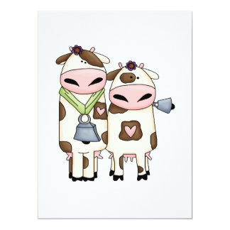 "silly moo cow couple cartoon 6.5"" x 8.75"" invitation card"