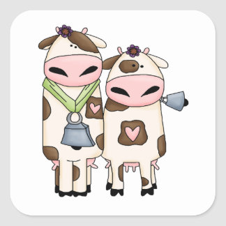 silly moo cow couple cartoon square sticker