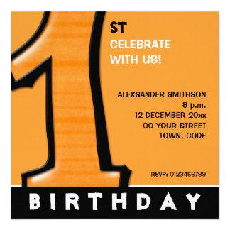Silly Number 1 orange 1st Birthday Invite