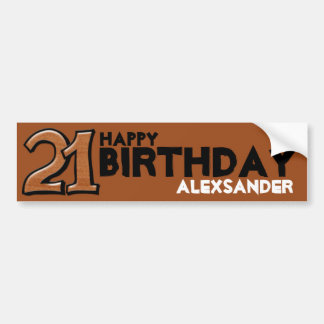 Silly Number 21 chocolate Birthday Long Sticker Bumper Sticker