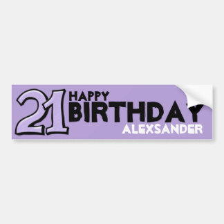 Silly Number 21 lavender Birthday Long Sticker Bumper Sticker