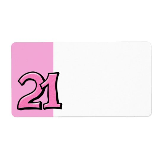 Silly Number 21 pink Address Label