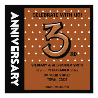 Silly Number 3 chocolate dots Anniversary Invite