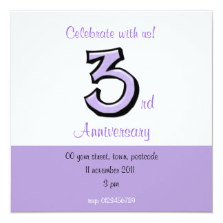 Silly Number 3 lavender Anniversary Invitation