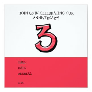 Silly Number 3 red Anniversary Invitation