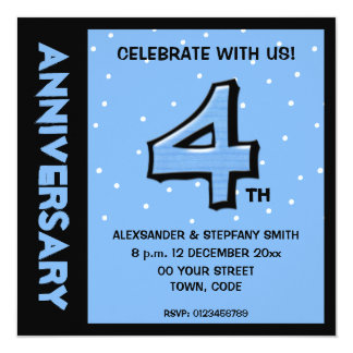 Silly Number 4 blue dots Anniversary Invitation