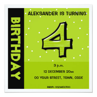 Silly Number 4 green dots Birthday Invitation