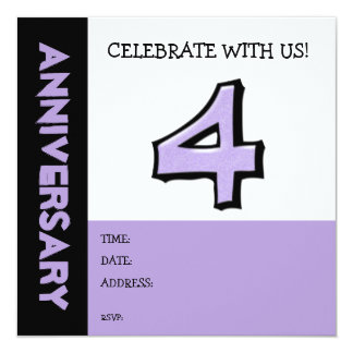 Silly Number 4 lavender Anniversary Invitation