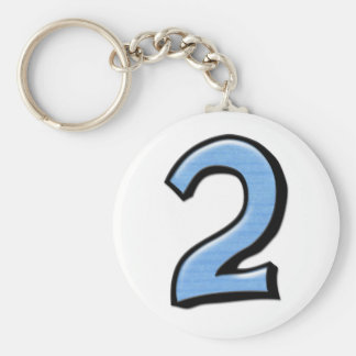 Silly Numbers 2 blue Keychain