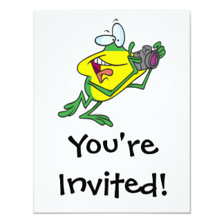 silly photographer frog cartoon card