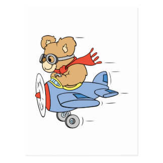 Silly Pilot Bear Postcard