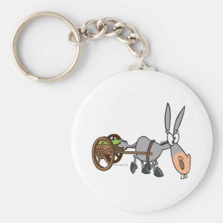 silly plodding donkey mule cartoon keychain