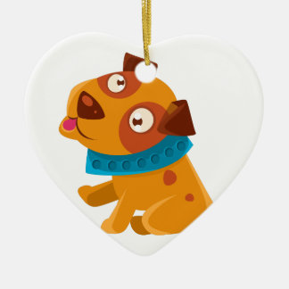 Silly Puppy With The Blue Collar Ready To Go For Ceramic Ornament