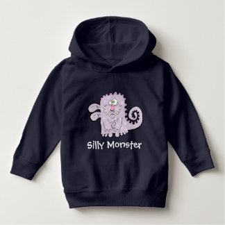 Silly Purple Monster Kids Dark Pull Over Hoodie