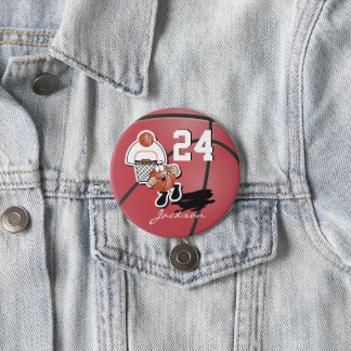 Silly Red Basketball Guy | Number One Fan 3 Inch Round Button