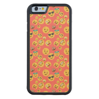 Silly Red Emoji Pattern Carved Maple iPhone 6 Bumper Case