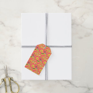 Silly Red Emoji Pattern Gift Tags