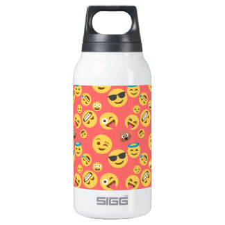 Silly Red Emoji Pattern Insulated Water Bottle