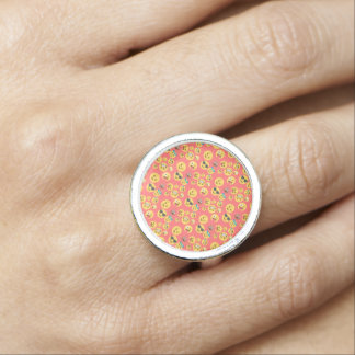 Silly Red Emoji Pattern Photo Rings