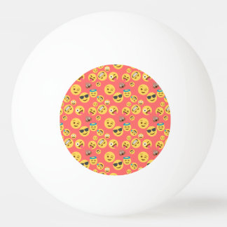 Silly Red Emoji Pattern Ping-Pong Ball
