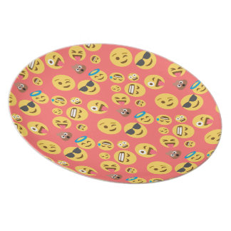 Silly Red Emoji Pattern Plate