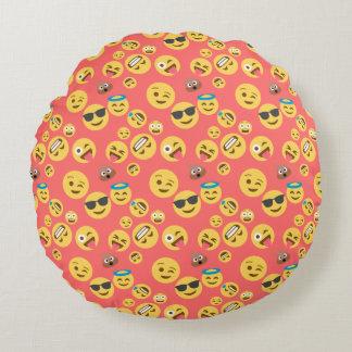 Silly Red Emoji Pattern Round Pillow