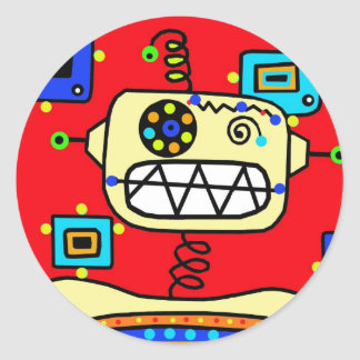 Silly Red Retro Robot Spaceman Classic Round Sticker