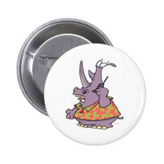 silly rhino on a cellphone cartoon 2 inch round button