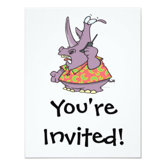 "silly rhino on a cellphone cartoon 4.25"" x 5.5"" invitation card"