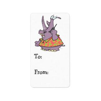 silly rhino on a cellphone cartoon address label