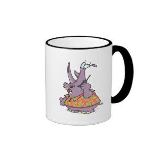silly rhino on a cellphone cartoon mug