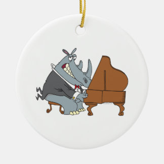 silly rhino playing piano pianist cartoon round ceramic ornament