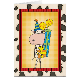 Silly Rhyming Birthday Cow Western Card