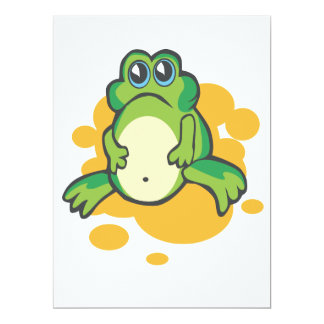 "silly sad cartoon froggy frog 6.5"" x 8.75"" invitation card"