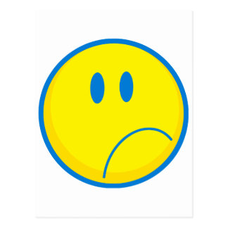 silly sad face smiley yellow and blue postcard
