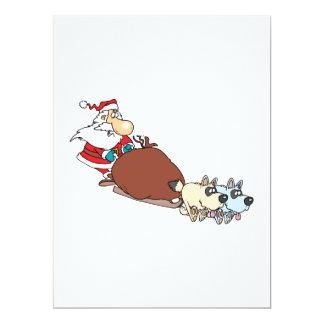 """silly santa and dog sleigh cartoon 6.5"""" x 8.75"""" invitation card"""