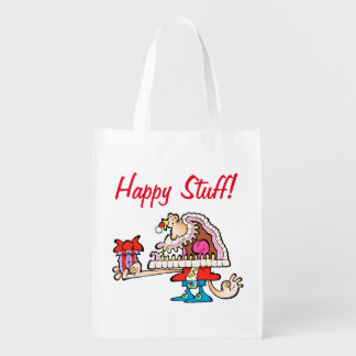 Silly Santa Seasonal Grocery Bag! Reusable Grocery Bag