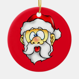 Silly Santa taking a Selfie Round Ceramic Ornament