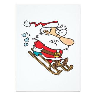 """silly scared santa on a sled cartoon 6.5"""" x 8.75"""" invitation card"""