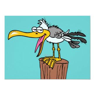 """silly seagull cartoon 6.5"""" x 8.75"""" invitation card"""