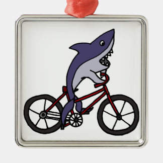 Silly Shark Riding Bicycle Cartoon Metal Ornament