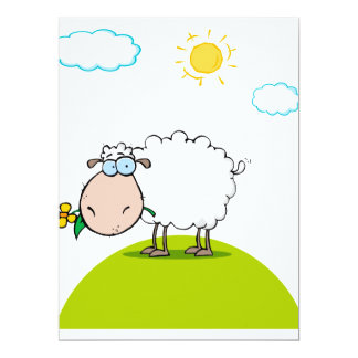 "silly sheep on a hill with a flower 6.5"" x 8.75"" invitation card"